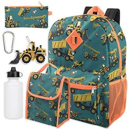 Boy's 6 in 1 Backpack Set With Lunch Bag, Pencil Case, Bottl