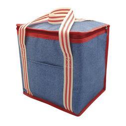 Denim Stripe Summer Picnic Cool Lunch Travel Country Club 12L Cooler Bag