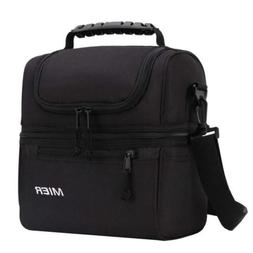 MIER 2 Compartment Lunch Bag Men Women Leakproof Insulated M
