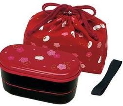 2-TIER Bento Lunch Box, Belt Bag Chopsticks Home Kitchen Tra