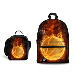 2pcs School Bag Set Basketball Designs Bookbags Mens Boys Lu