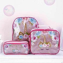 3pc/Set Girl Unicorn Backpack Lunch Bag Pencil Pen Bag Back