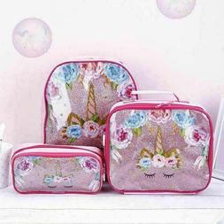 3pc/Set Girl Unicorn Backpack Lunch Bag Pencil Pen Bag Back
