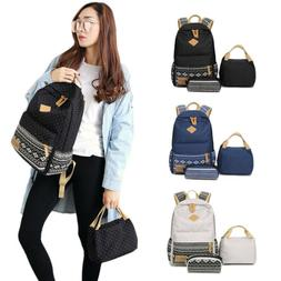 Fashion Canvas School Backpack for Girls Boys Book Bag with