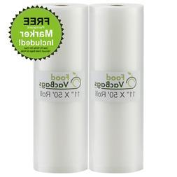 FoodVacBags 2-pack 11X50 Rolls Vacuum Sealer Bags 4 mil Embo