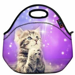 ICOLOR Cute Cat Girls Insulated Neoprene Lunch Bag Tote Hand