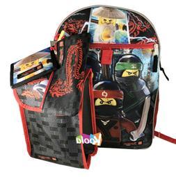 Lego Ninjago Movie Boys Backpack and Lunch Bag - 5pc School