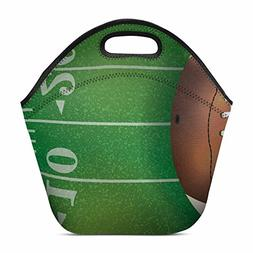 Artsadd American Football Insulated Lunch Tote Bag Reusable