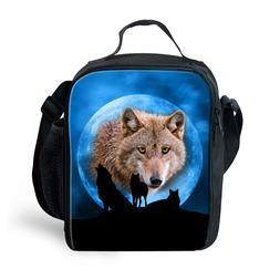 Animal Wolf Insulated Lunch Bag Children School Lunchbox Tot