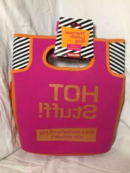 "AR+Cook Thermal Lunch Bag 18"" ""HOT stuff!"" Hot Pink Oran"