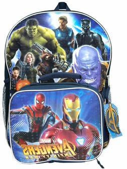 Marvel Avengers Boys School Backpack Lunch Box SET Book Bag