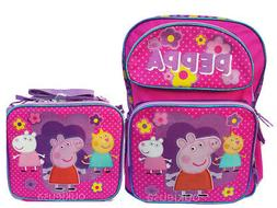 "Peppa Pig Backpack 16"" & Lunch bag 2 pc set pink Backpack Gi"
