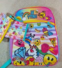 Emojination Backpack 3 Piece Set Lunch Bag Water Bottle Case