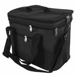 Black Extra Large Lunch Bag Adult Double Decker Compartment