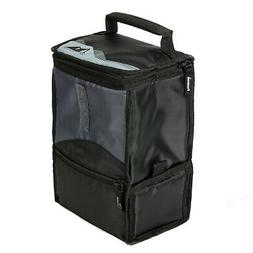 Black Power Pack Lunch Bag W/ Compartment Portable Food Stor