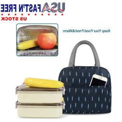 Blue Feather Lunch Bags for Women Portable Insulated Thermal