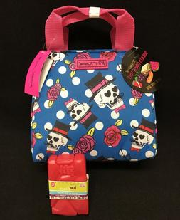 Betsey Johnson Blue Skulls Insulated Lunch Bag Tote w/ ice p