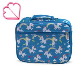 Keeli Kids Blue Unicorn Insulated Lunch Box Lunch Bag & Sand