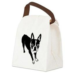 boston terrier canvas lunch bag with strap