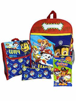 "Boys Paw Patrol 15"" Backpack Lunch Bag Pencil Pouch w/ Grab-"