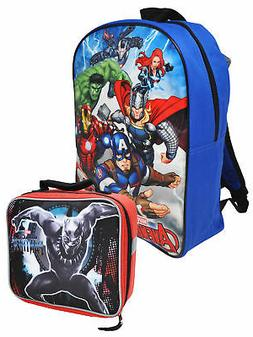 "Boys Marvel Avengers Backpack 15"" and Black Panther Lunch Ba"