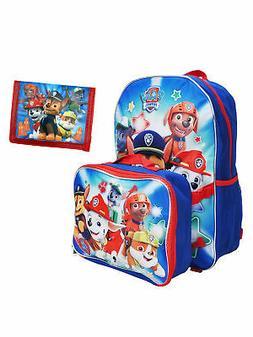 Paw Patrol Boys Backpack & Lunch Bag and Kids Bi-Fold Wallet