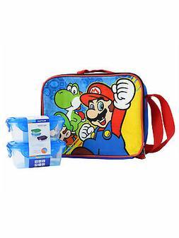 Boys Super Mario Bros Insulated Lunch Bag Shoulder Strap w/