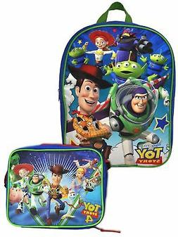 """Boys Toy Story Backpack 15"""" with Insulated Lunch Bag w/Shoul"""