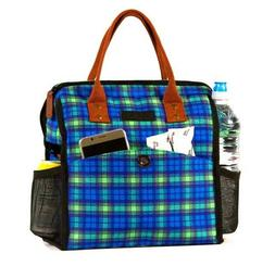 Women's Lunch Bag-Chic Design-Plaid-Blue/Green -Wide Opening