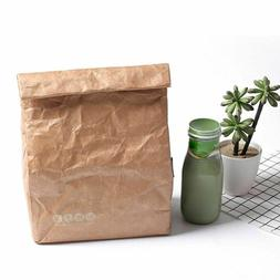Brown Paper Lunch Bag Thermal Kraft Covered Insulated Reusab