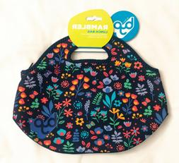 BYO by BUILT Rambler Neoprene Lunch Bag NEW Navy with Flower