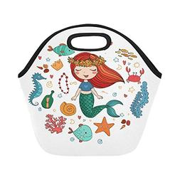 Artsadd Cartoon Mermaid Lunch Tote Bag Reusable Neoprene Coo