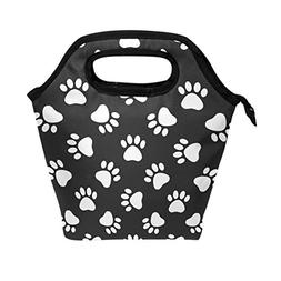 WOZO Cat Dog Paw Print Footprint Insulated Lunch Bag Tote Ba