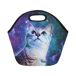 Artsadd Cat in Universe Space Galaxy Insulated Lunch Tote Ba