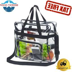 Clear Tote Lunch Bag Heavy Duty,Adjustable Shoulder Straps f