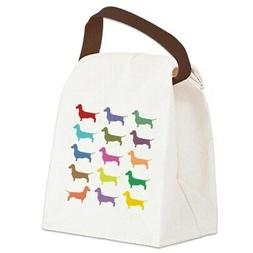 colorful dachshunds canvas lunch bag with strap