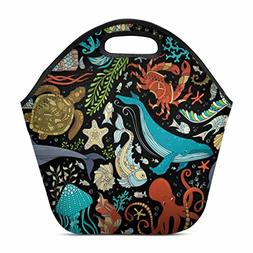 Artsadd Colorful Octopus, Whale, Dolphin Insulated Lunch Tot