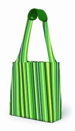BUILT Comfy Reusable Shopping Tote Bag, Emerald Stripe