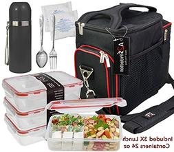 A2S Complete Meal Prep Lunch Box - 8 Pcs Set: Cooler Bag 3X