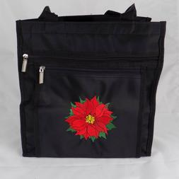 """Crafting Tote Lunch Bag Poinsettia Applique 12"""" height 12"""" w"""