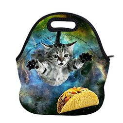 AOTIGO Curious Cat Flying Through Space Neoprene Lunch Bag I