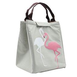 Mziart Cute Flamingo Lunch Bag, Reusable Canvas Lunch Tote P