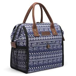 LOKASS Cute Lunch Bag Insulated Cooler Bag Wide-Open Lunch T