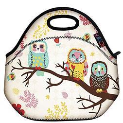 ICOLOR Cute Three Owls Boys Girls Insulated Neoprene Lunch B