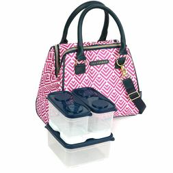 Dabney Lee Insulated Lunch Tote Pink/White combination Lunch