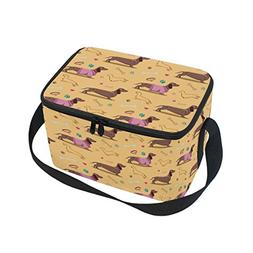 ALAZA Dachshund Paw Print Insulated Lunch Bag Box Cooler Bag