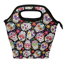 ALAZA Day of the Dead Sugar Skull Flower Colorful Lunch Box