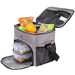 MIER Dual Compartment Insulated Lunch Box Bag Cooler Tote Me