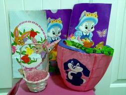 Easter Lot- Baskets Large Wire Small Straw & Bags-Lunch Good