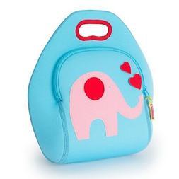 "Dabbawalla Bags  EFLB Elephant Lunch Bag, Blue/Pink, 12""H x"